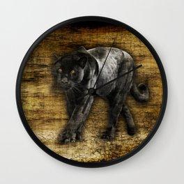 Wild Black Jaguar Wall Clock