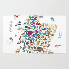 Animal Map of Scotland for children and kids Rug