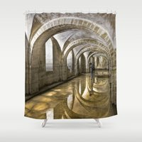 winchester Shower Curtains featuring Winchester Cathedral Crypt by Alice Gosling