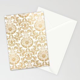 Gold foil swirls damask 16 Stationery Cards