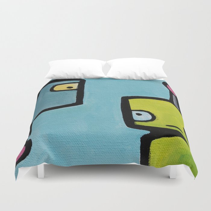 Robot - Recognizing You Through Time Duvet Cover