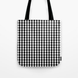 Small Black White Gingham Checked Square Pattern Tote Bag