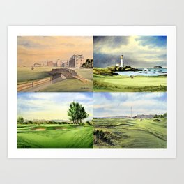 Famous Golf Courses Of Scotland - St Andrews Turnberry Carnoustie Royal Troon Art Print