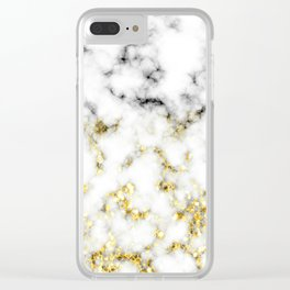 Black and white marble gold sparkle flakes Clear iPhone Case