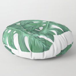 Monstera Tropical Leaf Painting Floor Pillow