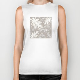 Trio palm leaves White Tan 2 Brown autumn fall tropical pattern, society6 Biker Tank