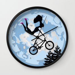 Doll Riding A BMX - ET Style - With Pink Stilettos! Wall Clock