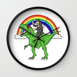 Rottweiler Riding T-Rex Dinosaur  Wall Clock
