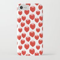 vegetarian iPhone & iPod Cases featuring Strawberries - trendy fresh tropical fruit vegan vegetarian juice juicing cleanse by CharlotteWinter