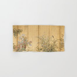 Japanese Edo Period Six-Panel Gold Leaf Screen - Spring and Autumn Flowers Hand & Bath Towel