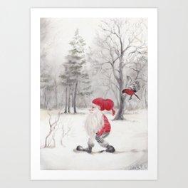 Gnome and bullfinch Art Print