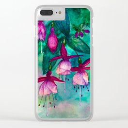 Watercolor fuschia flowers whimsical painting Clear iPhone Case