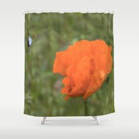 poppy Shower Curtains featuring Poppy by Fine Art by Rina