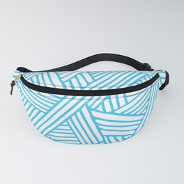 Abstract Teal & white Lines and Triangles Pattern - Mix and Match with Simplicity of Life Fanny Pack