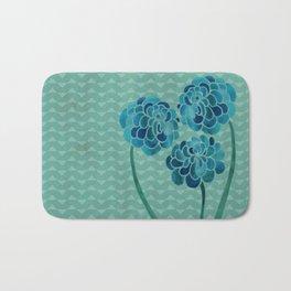 Blue Chrysanthemums Bath Mat