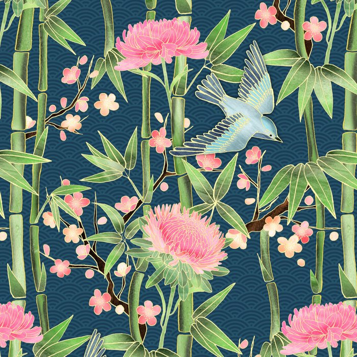 Bamboo, Birds and Blossom - dark teal Leggings