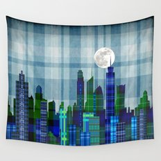 Plaid City Twilight Wall Tapestry