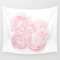 shabby chic Wall Tapestries featuring Shabby Chic Roes by KarenHarveyCox