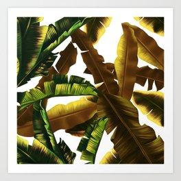 tropical banana leaves pattern gold Art Print