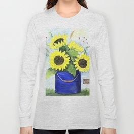 Watercolor sunflower bouquet in bucket Long Sleeve T-shirt