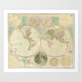 World Map by Carington Bowles (circa 1780) Art Print