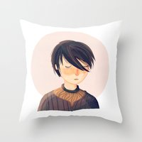 arya Throw Pillows featuring There Is Only One Thing We Say To Death by Nan Lawson