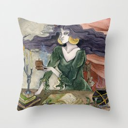 The Erl Witch at Work Throw Pillow