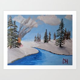 Fire by the Creek Art Print