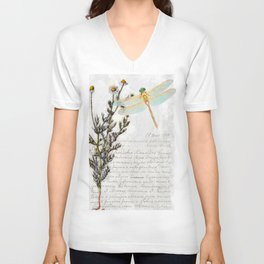 Chamomile Herb, Dragonfly Bumble Bee Botanical painting, Cottage style Unisex V-Neck