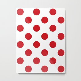 Large Polka Dots - Fire Engine Red on White Metal Print