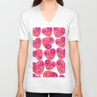 hearts V-neck T-shirts featuring Hearts by luizavictoryaPatterns