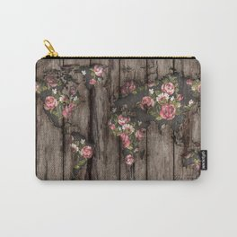 Wood Flowers Mapamundi Carry-All Pouch