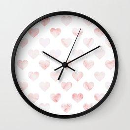 Pink Marble Hearts Wall Clock