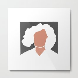 Minimal portrait of curly lady Metal Print