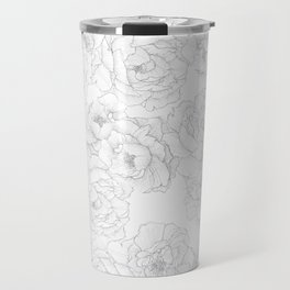 Peony Flower Pattern Travel Mug