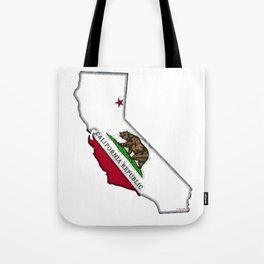 California Map with Californian Flag Tote Bag