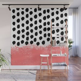 Lola - painted dot minimal coral black and white trendy abstract home decor Wall Mural