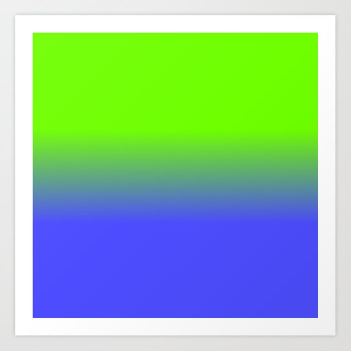 Neon Blue And Green Ombré Shade Color Fade Art Print