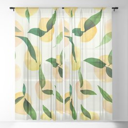 Sunny Lemon Print ~ Yellow and Green Sheer Curtain
