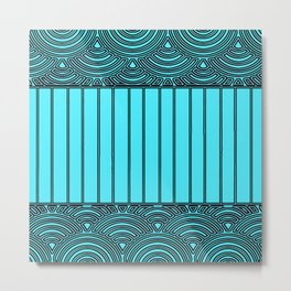 Decorative Pattern in Blue and Black Metal Print