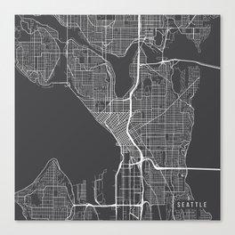 Seattle Map, USA - Gray Canvas Print