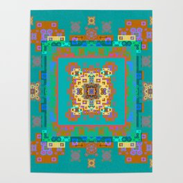 Turquoise Persian Rug Deconstruction Mandala Poster