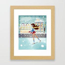 Ice Skating Girl Framed Art Print