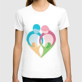 Heart shaped family logo. Mother, father, little boy and little girl T-shirt