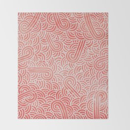 Peach echo and white swirls doodles Throw Blanket