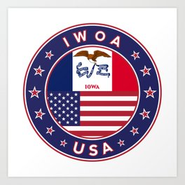 Iowa, Iowa t-shirt, Iowa sticker, circle, Iowa flag, white bg Art Print