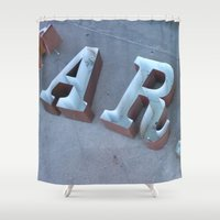 lettering Shower Curtains featuring Lettering by Jenna Allensworth
