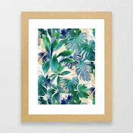 Golden Summer Tropical Emerald Jungle Framed Art Print