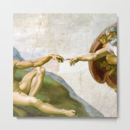 The Creation of Adam Painting by Michelangelo Sistine Chapel Metal Print