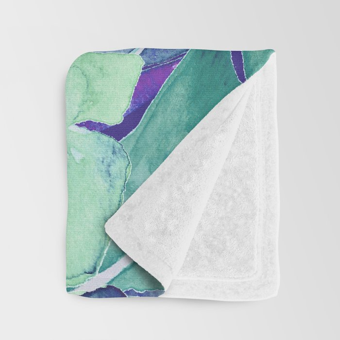Banana Tree Leaves | Tropical  BLUE Watercolor Throw Blanket